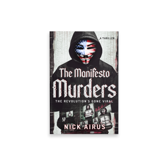 "Cover Book per ""the manifesto murders"" di Nick Airus - progetto copertina libro di CirceCorp Design"