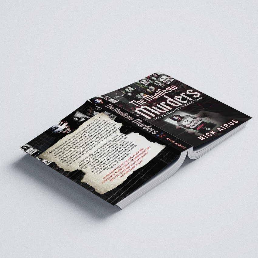 """Cover Book per """"the manifesto murders"""" di Nick Airus - progetto copertina libro di CirceCorp Design"""