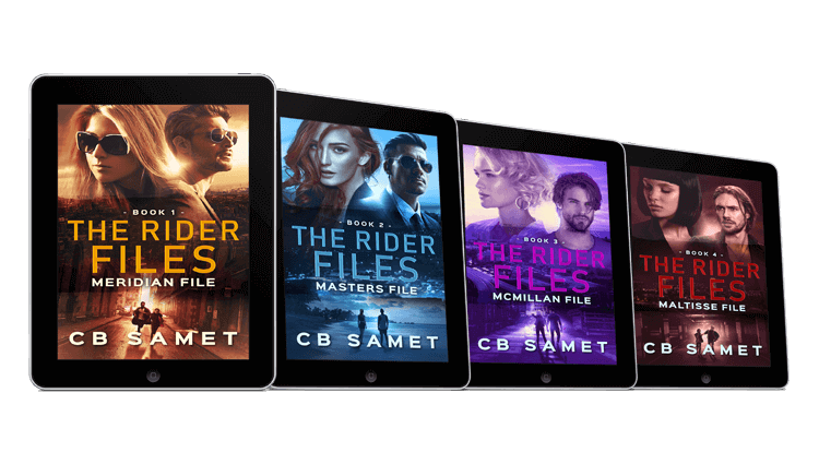 "Cover eBook per la quadrilogia ""The rider Files"" di C.B. Samet - progetto copertina ebook di CirceCorp Design"